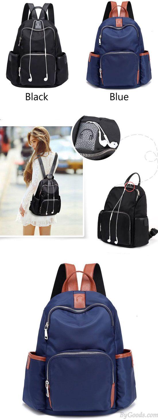 Simple Girl's Waterproof Oxford Splicing PU School Backpack Headphones Hole Travel Backpack for big sale! #backpack #Pu #bag #school #college