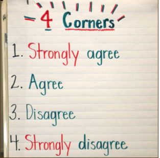 4 Corners Activity!  This is a great activity from the Balanced Literacy Diet to build reading comprehension with students, and motivation for literacy! It is a fun activity where after reading a teacher presents statements related to the story, and students move to the 4 corners of the room to identify if they agree, disagree etc. Students can also build oral language through discussion in these small groups.  (Balanced Literacy Diet)