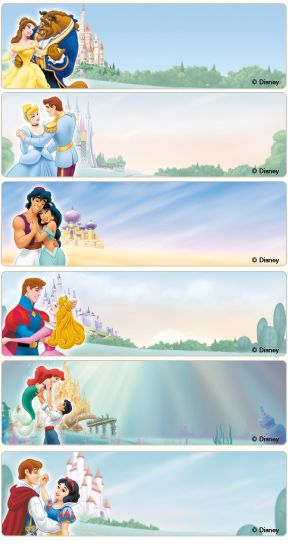 Princess Address Labels - Expressionery - Simply sweet Disney Princess address labels add enchantment and magic to all your correspondence. Let Ariel, Cinderella, Snow White, Aurora, Belle, and Jasmine add magic to your letters, notes and more.