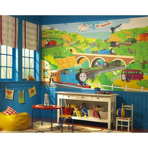 New XL Thomas The Tank Engine Wall Mural Train Room Wallpaper Trains Decorations | eBay
