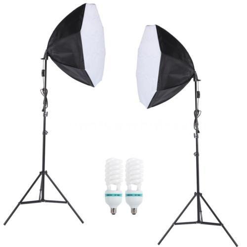2X-Fotostudio-Studioleuchte-Set-Softbox-Studiolampe-Stativ-Galgenstativ-Photo