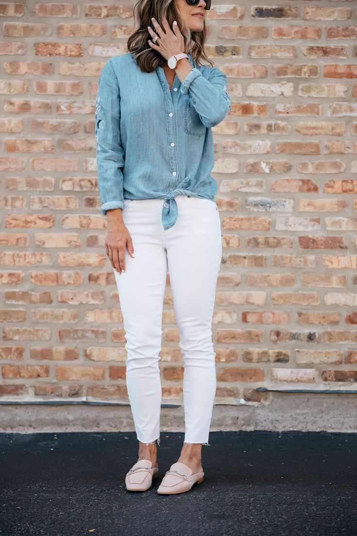 Embroidered Chambray + 5 Ways I've Screwed Up At Motherhood This Week (So Far) | fall style | what to wear | white denim | style blogger | mom blogger | mom life funny | mom style