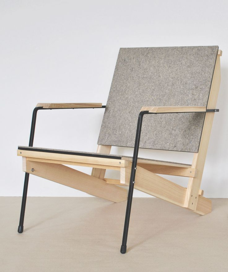 Sven Temper; Ash, Plywood and Enameled Steel Armchair, 2012.
