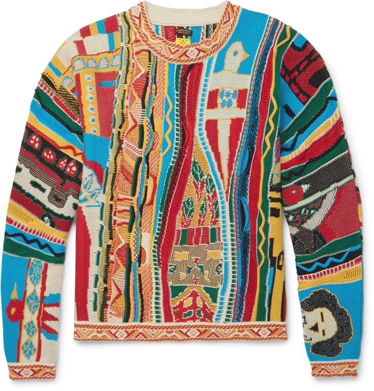 Similar to a style once worn by The Notorious B.I.G, this colourful <a href='http://www.mrporter.com/mens/Designers/KAPITAL'>KAPITAL</a> sweater evokes the hip-hop scene of early '90s New York - an influential era across the worlds of art, music and fashion right now. It's been made in Japan from soft cotton in a textured knit that really emphasises the bold primary palette. Although vivid, it's simple to style - think navy sw...