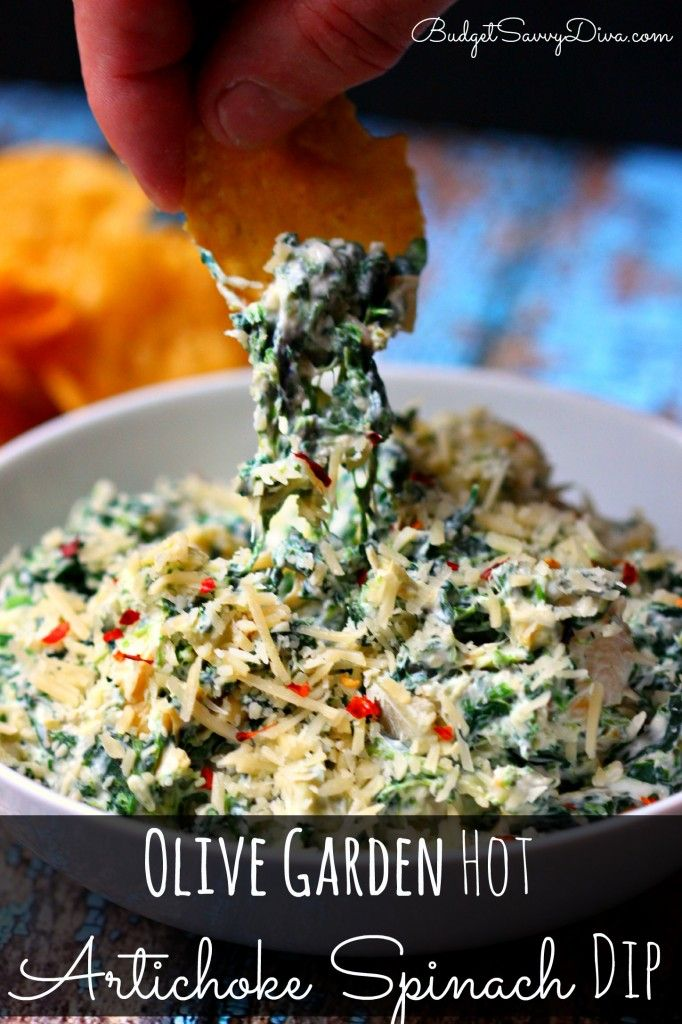 Must Make Recipe! My whole family loved it - cost 1/3 of the restaurant price! Make sure to PIN - Olive Garden Hot Artichoke Spinach Dip Recipe #olivegarden #copycat #recipe #budgetsavvydiva via budgetsavvydiva.com