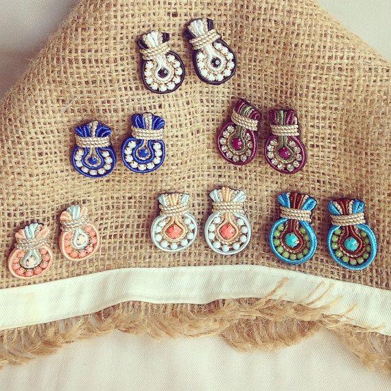 Original Soutache Earrings, Lightbulb Design Custom made by Little Venice Designs / Great Price. Hypoallergenic
