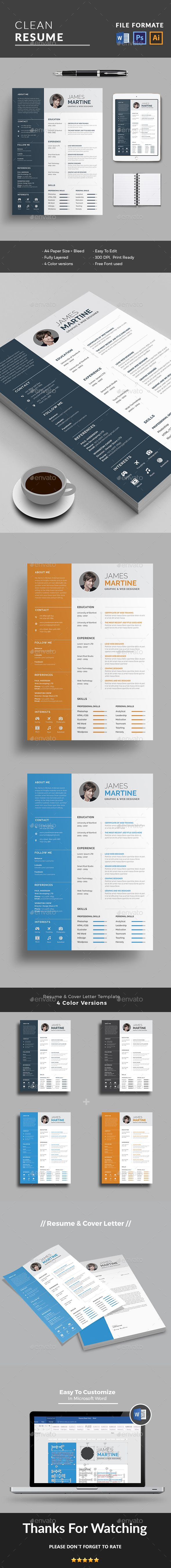 #Resume - Resumes #Stationery Download here: https://graphicriver.net/item/resume/19276022?ref=classicdesignp