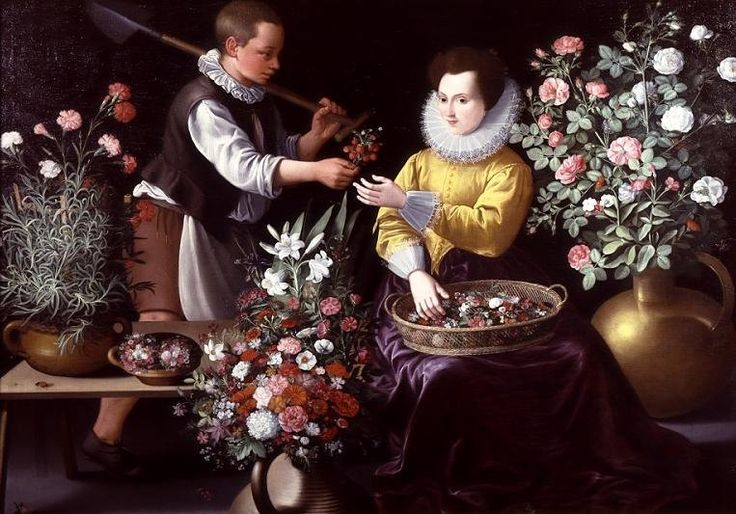 'An Allegory of Spring' or 'A Market Scene with a Boy offering Strawberries to Girl seated and surrounded by Flowers'  byJean Baptiste de Saive  Copyright: © Bridgeman Art Library / Private Collection / Photo © Rafael Valls Gallery, London, UK