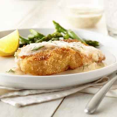Lemon and dill flavor a white wine sauce that complements the crispy fish fillets. We prefer using a firm white fish like halibut or walleye.