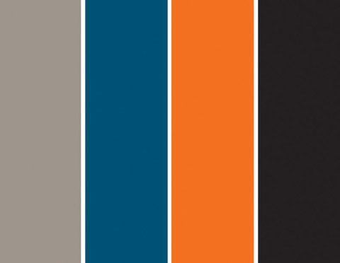 Sobre o cinza, qualquer tom ganha realce – eleja uma paleta equilibrada e aproveite esse efeito. O azul, que tem poder relaxante, foi destinado à maior superfície. Laranja e preto, nos detalhes, dão intensidade à mistura. Projeto do Studio Costa Marques.