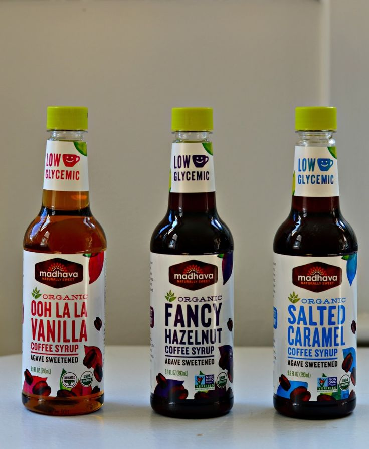 Madhava Natural Sweeteners organic coffee syrups made with agave. Low glycemic!