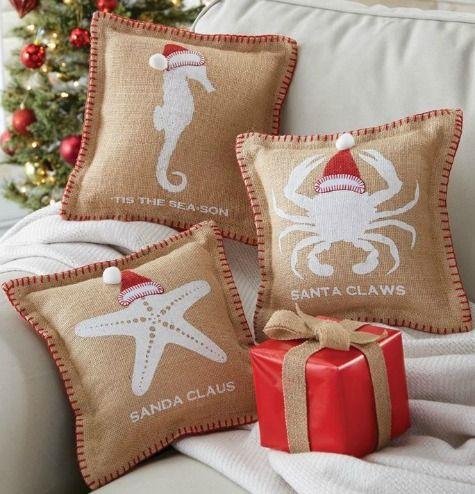 Cute mini coastal Santa pillows: http://www.completely-coastal.com/2015/11/christmas-sayings-pillows.html Santa's on the way to the beach!