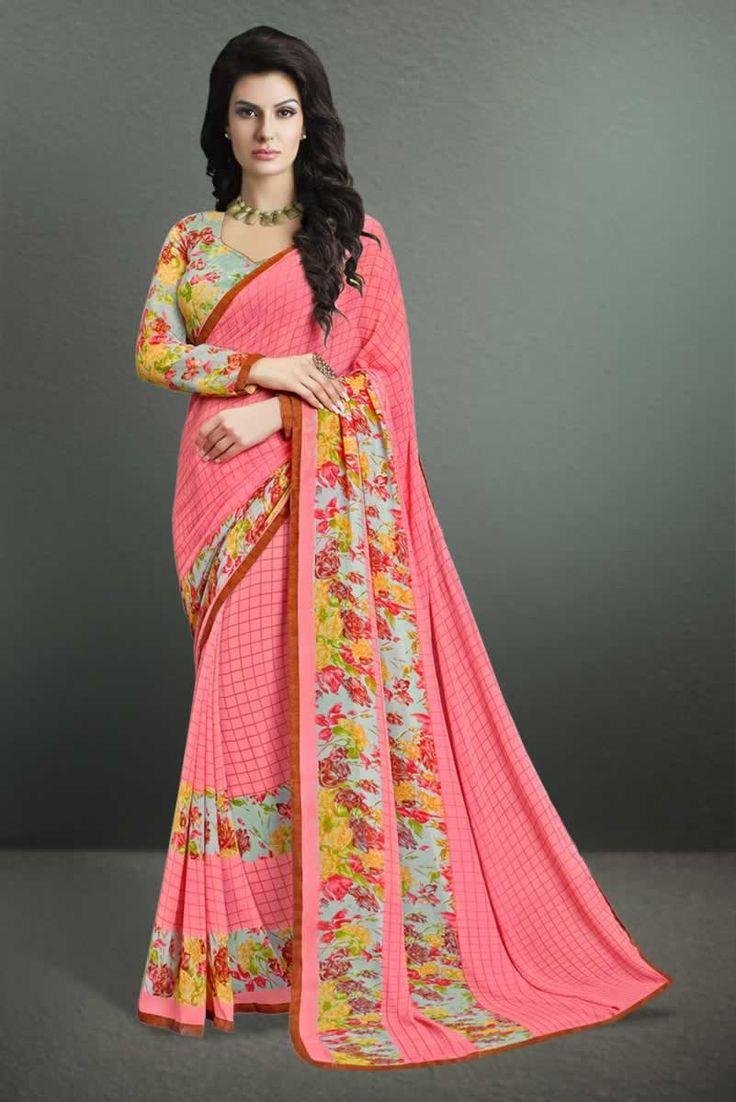 buy saree online Pink Colour Georgette Printed Party Wear Saree Buy Saree online - Buy Sarees online