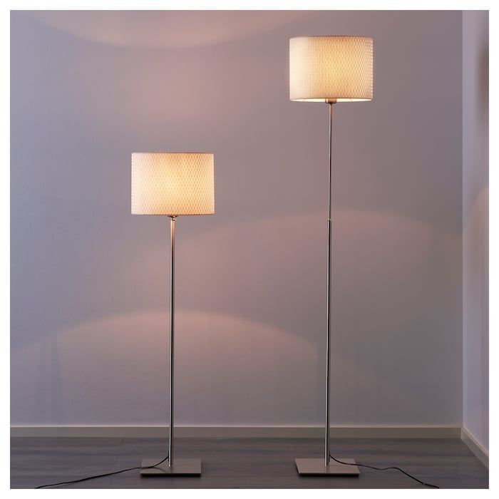ALÄNG nickel plated, white, Floor lamp
