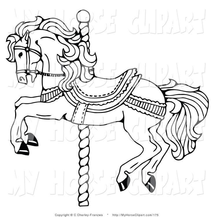clip art of a carousel horse on a spiraling pole on white