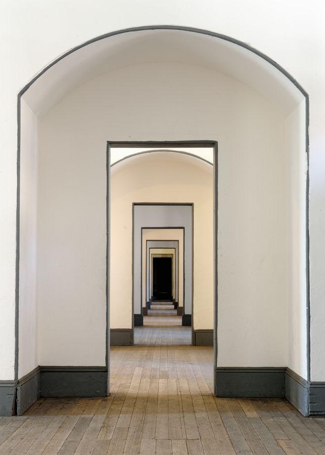 dark trim on light walls
