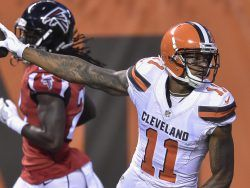 Cleveland Browns wide receiver Terrelle Pryor (11) holds out the football after scoring a touchdown during the first half of an NFL preseason football game against the Atlanta Falcons, Thursday, Aug. 18, 2016, in Cleveland. (AP Photo/David Richard)