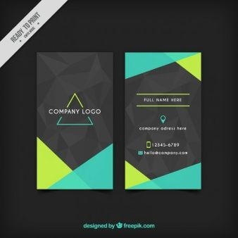 Tarjeta gris corporativa con formas verdes abstractas