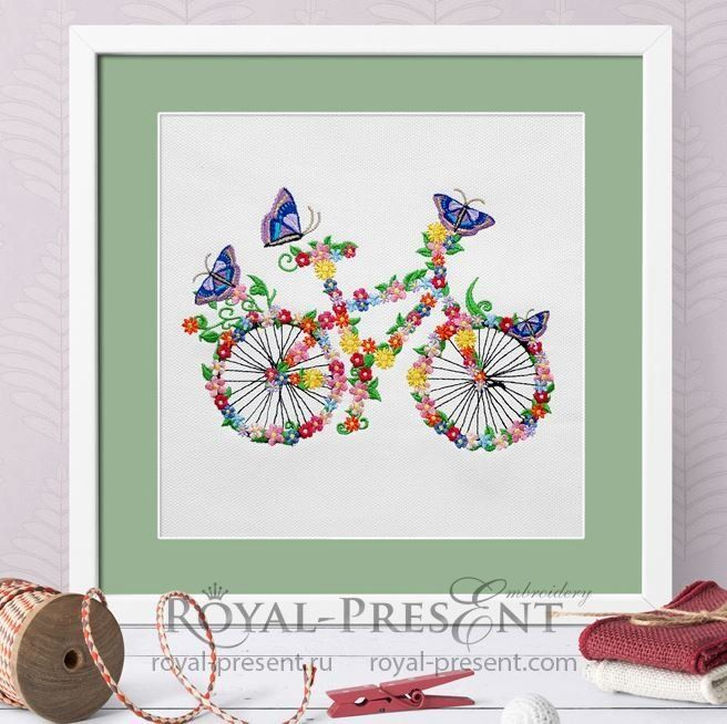 Flower bicycle Machine Embroidery Design - 5 sizes | embroidery ...