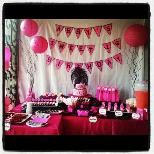 Pink and black theme dessert table