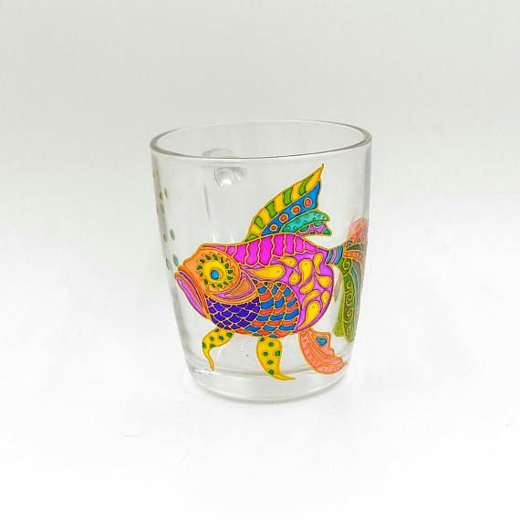 Colorful Fish MugHand Painted Gift Coffee Tea Handmade