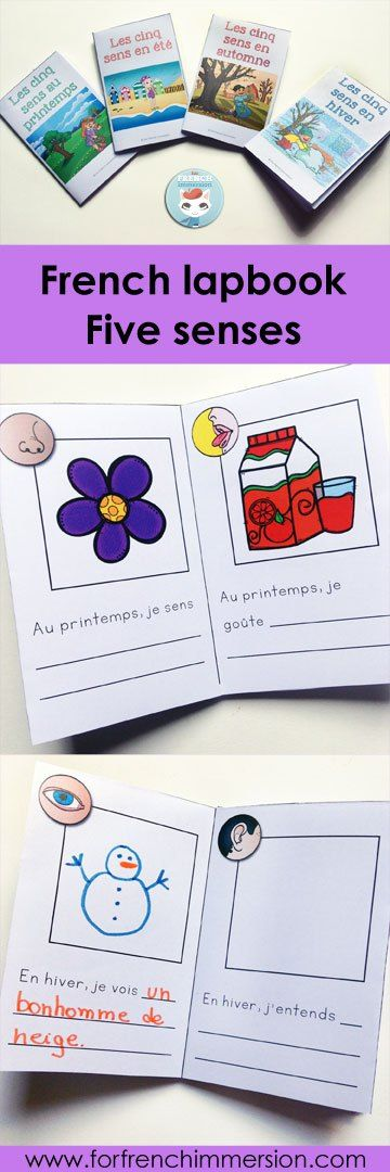French Four Seasons Minibooks. Activity included in the French Five Senses Lapbook: a hands-on, interactive activity to recap and consolidate knowledge about the five senses. Les cinq sens.