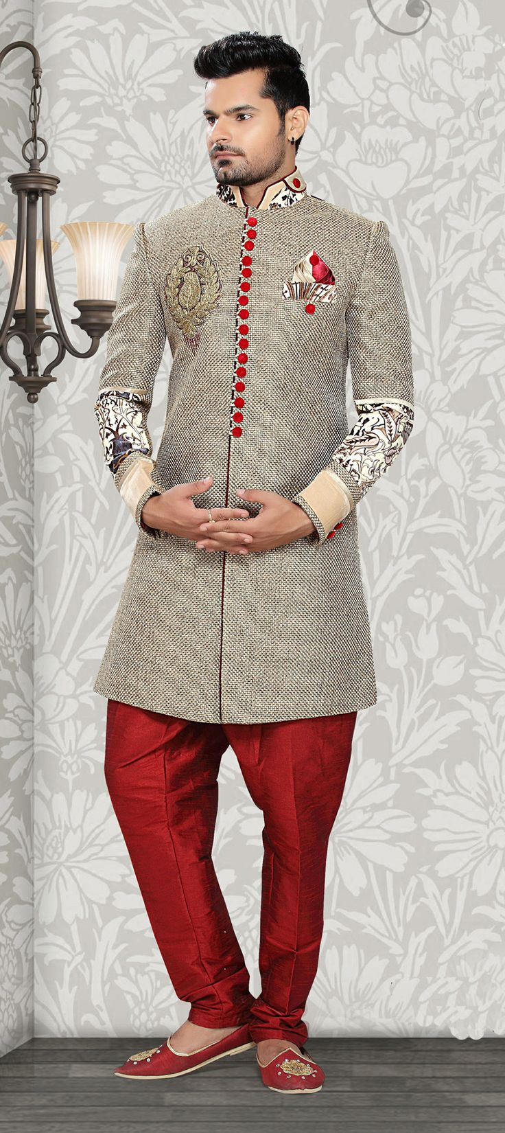14689: #Menswear in #Jute fabric - now this is something new! Shop this exclusive #sherwani.  #groom #wedding