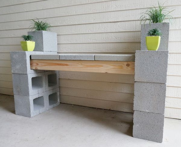 17 best ideas about cinder block bench on pinterest for Cinder block plant shelf