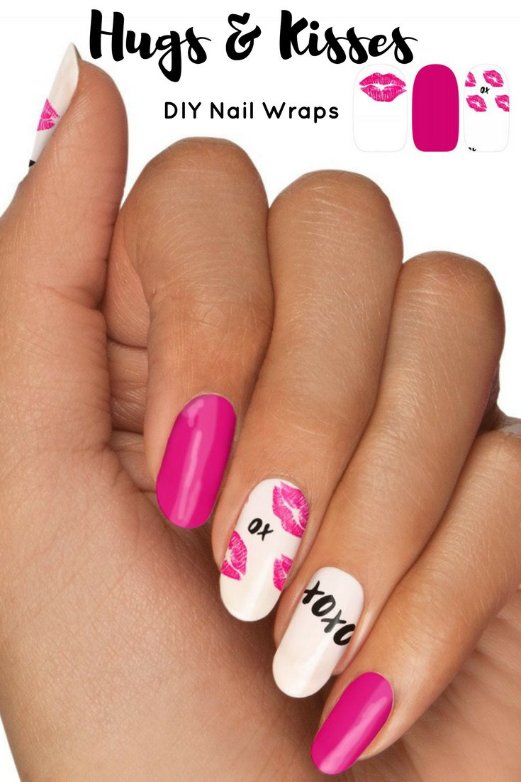 Very cute Valentines Day hugs and kisses DIY Nail wraps. 20 wraps, easy to apply, and no mess! #ad#nailart#nailwrap#nails#valentinesday#Valentinesnails#hugsandkisses#xoxo