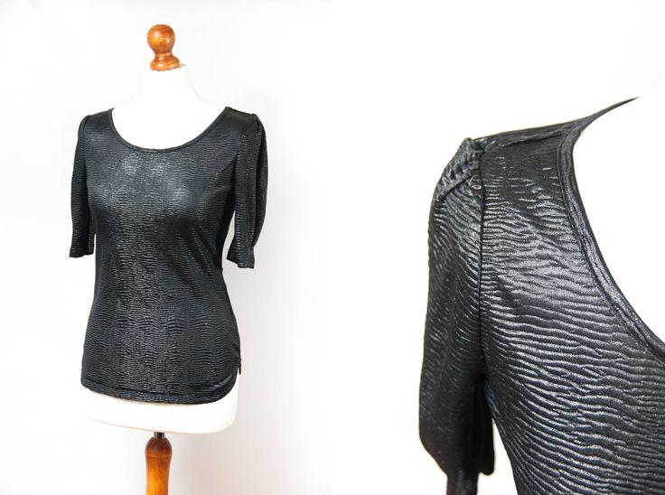 Vintage blouse, black blouse, blouse vintage, blouse black, womens blouse, short sleeve blouse, size S blouse, small blouse, black small by VintageEuropeDesign on Etsy