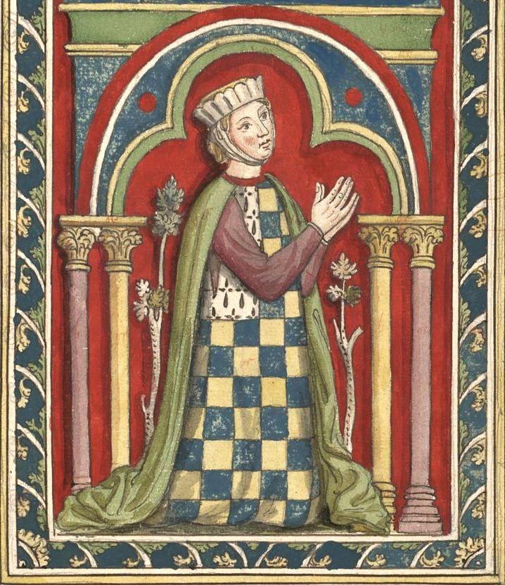 Alix de Bretagne (Gaignières 96) -- Dessin d'un vitrail de N.-D. de Chartres [BNF Bouchot, 96] -- «Alix comtesse de Bretagne fille aisnée & heritiere de Guy de Thouars comte de Bretagne a cause de Constance sa femme, fut mariée l'an 1213 a Pierre de Dreux dit Mauclerc Duc de Bretagne. Elle mourut le XIe d'Aoust 1221… Elle laissa trois enfans de son mariage, Jean, Artus, & Yoland.»