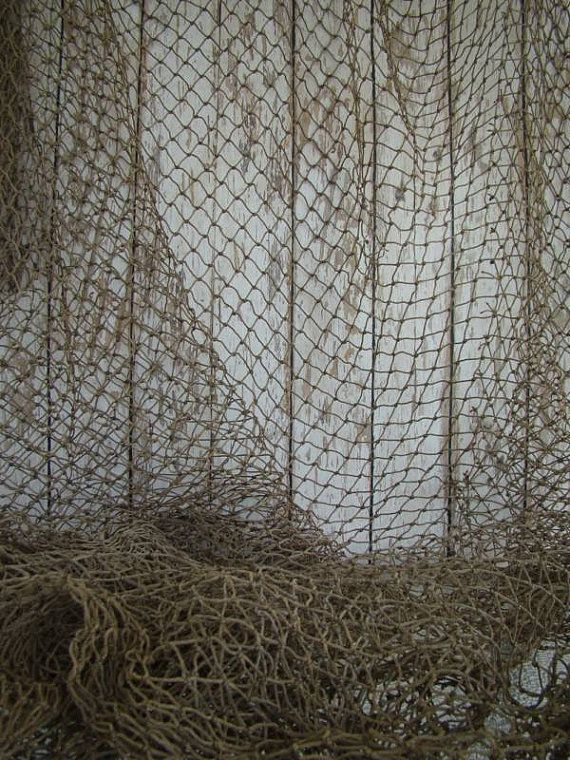 Old used fishing net 5 ft x 5 ft vintage fish netting for Fish nets near me