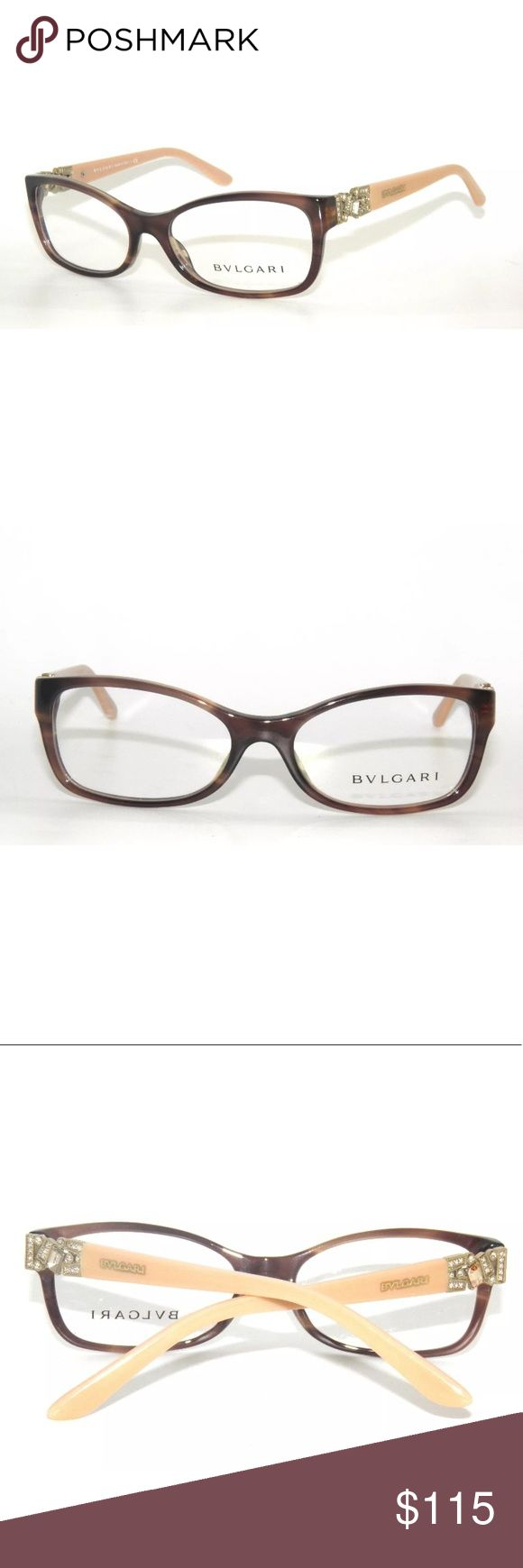 bvlgari 4069B Striped Brown Eyeglasses Frame 54mm In good condition is missing a stone at the left temple. Comes with original bvlgari Case. Bulgari Accessories Glasses