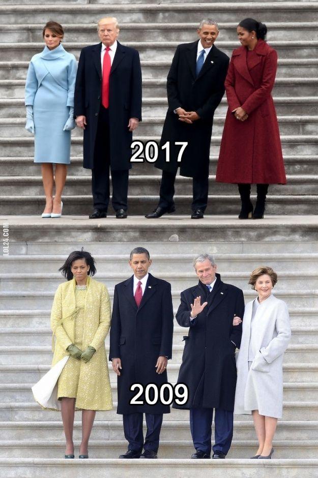 Trump & Obama - 2017 vs 2009 #Obama #Trump #podobieństwo #USA #polityka