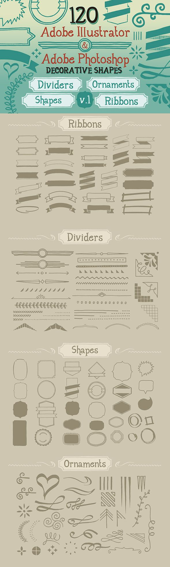 120 Handwritten Decorative Shapes 01 - Symbols Shapes