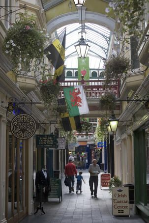 Castle Arcade. Cardiff, Wales. A great place to have breakfast and people-watch.