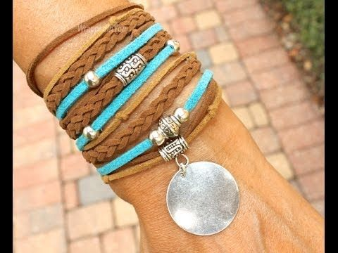 MichouBeads -  Boho Triple Wrap Bracelet - Step by Step DIY Tutorial Bohemian Faux Suede Wrap - YouTube