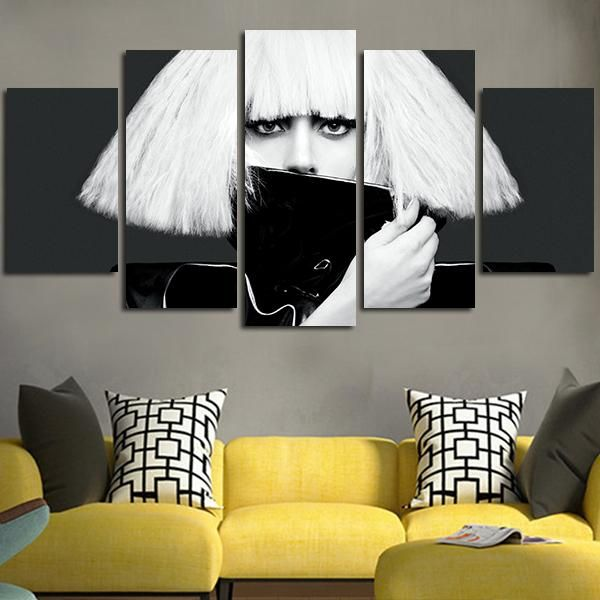 5 Panel Lady Gaga The Fame Monster Wall Art Canvas