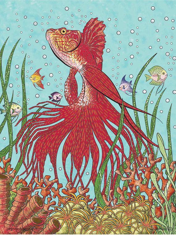 Betta fish coloredprintable HQ