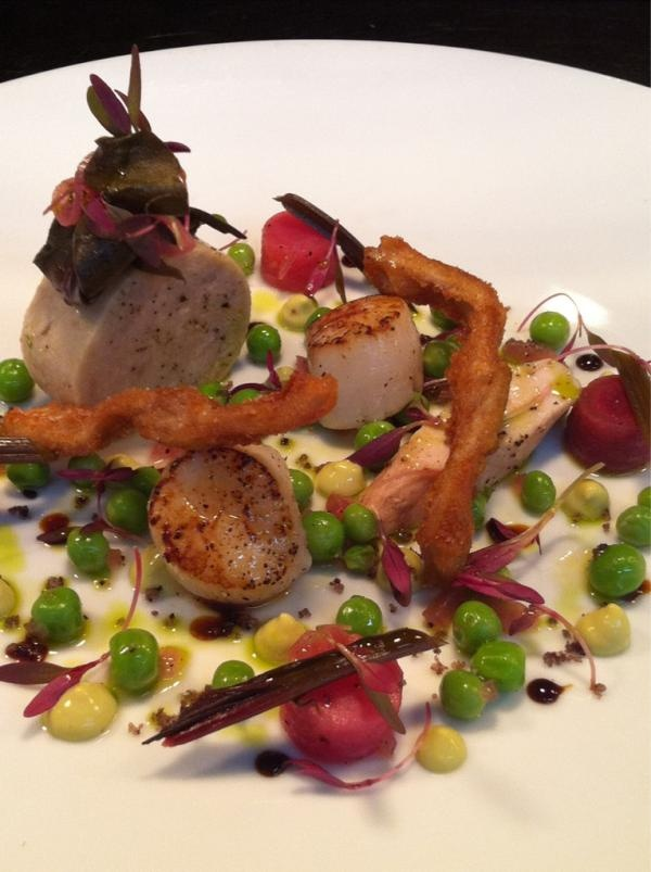Smoked loin, rillette & confit belly of Macleay Valley rabbit w seared scallop, pea cream, pickled carrot & amaranth