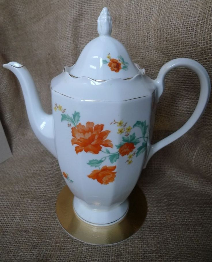 "Old Latvia Pottery JESSEN Riga Porcelain mark Big 11"" Coffee Pot 1930s Carnation"
