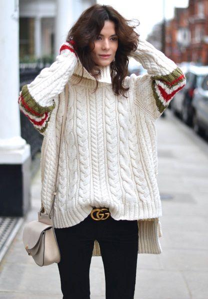 Объёмные вещи сезона, вязаная мода 2016, модные вязаные вещи 2016, свитер крупной вязки (фото 8)