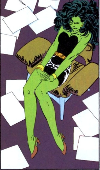 John Byrne - She Hulk - Just because she's a superhero doesn't mean she can avoid paperwork.