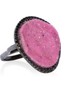 Kimberly McDonald 18-karat blackened white gold, cobalto calcite and black diamond ring