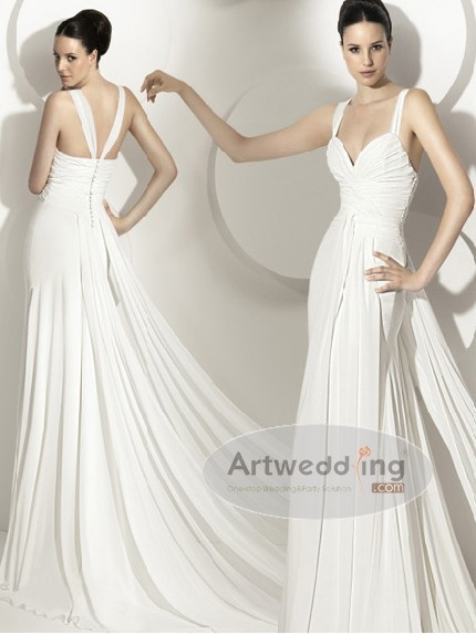 Pleated Chiffon Sheath Wedding Dress with Straps and Panel Train