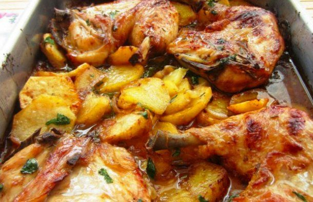 Portuguese Roasted Chicken With Potatoes Recipe Recipe Roasted Chicken And Potatoes Chicken Potatoes Portuguese Chicken Recipes