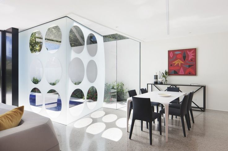 These interesting windows help with privacy, but still allow for natural light
