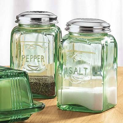 Vintage Antique Style Green Depression Glass and Metal Salt Pepper Shaker Set