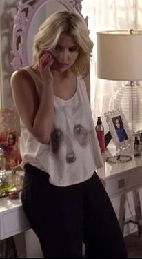 Hanna's raccoon top on Pretty Little Liars.  Outfit Details: http://wornontv.net/4598/ #PrettyLittleLiars