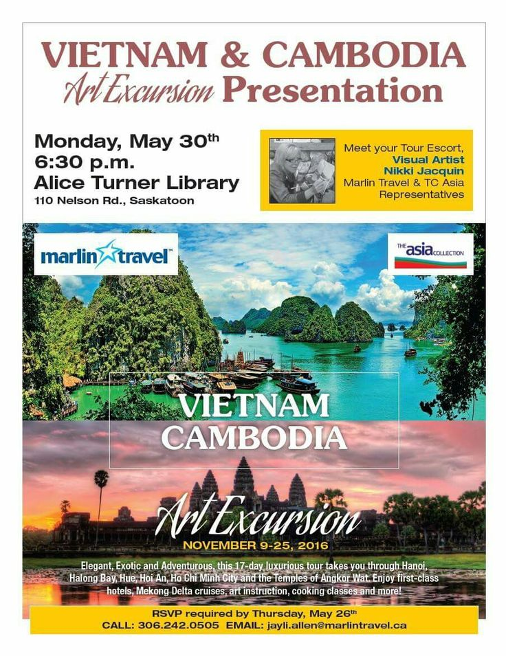 Hope you'll join me at this #Saskatoon information night. We will be talking about #travel and #painting in this very exotic location #Vietnam & #Cambodia.